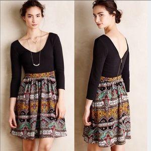 Anthro | Maeve Dress Black & Paisley Sz 4
